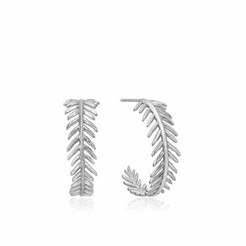 Silver Palm Hoop Earrings