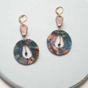 Earth Orbit Marbled Leather Cutout Hoop Earrings
