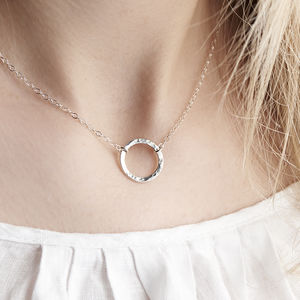 Gold Or Silver Hammered Karma Disc Necklace - jewellery