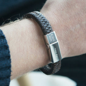 Men's Engraved Message Bracelet - 3rd anniversary: leather