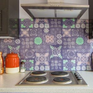 Pastel Lace In Grey Patterned Glass Splashback - bathroom