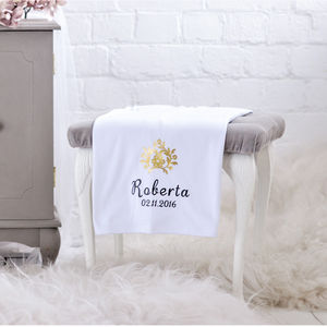 Personalised Luxury White Cotton Baby Blanket