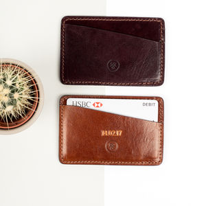 Personalised Leather Card Holder. 'The Alberi' - for him