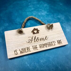 Home Is Where The Family Is Solid Oak Plaque