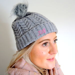 Personalised Knitted Hat With Hat Warmers - hats & gloves
