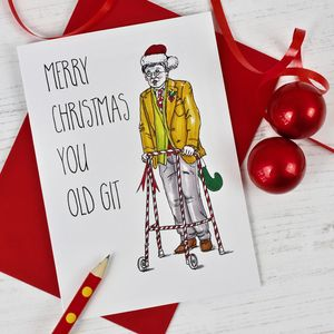 Funny Old Git Christmas Card - cards