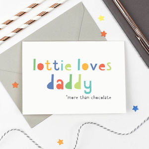 Personalised 'Loves Daddy' Card - summer sale