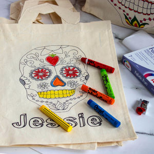 Colour In Sugar Skull Bag - creative activities
