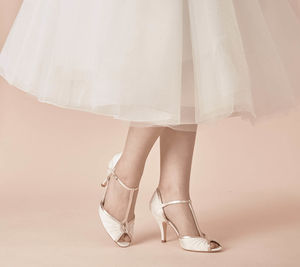 Mimi Ivory Satin T Bar Peep Toe Wedding Shoes - bridal shoes