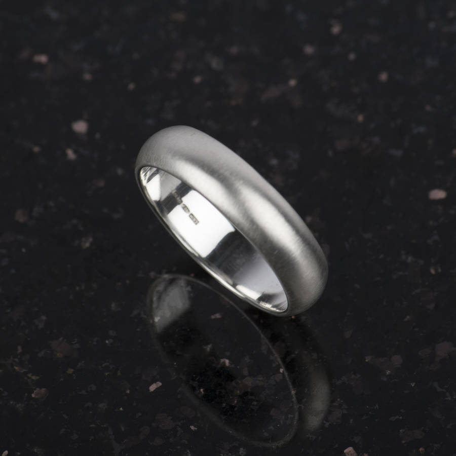 Silver Matt Mens Ring