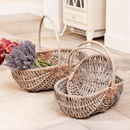Set Of Three Traditional Willow Trug Baskets