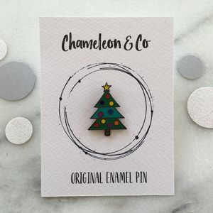 Christmas Tree Enamel Pin - personalised jewellery