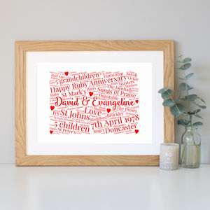 Personalised 40th Anniversary Word Art Gift