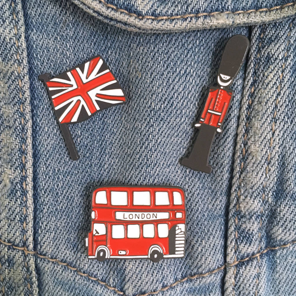 Set Of Three London Bus, Queen's Guard, Union Jack