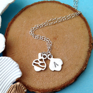 Double Baby Acorn Necklace With Initial