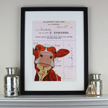 Cow On Pink Vintage Farm Document