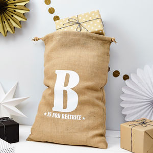 Personalised Alphabet And Name Christmas Sack - storage bags