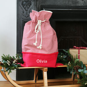 Luxury Personalised Check Christmas Santa Sack