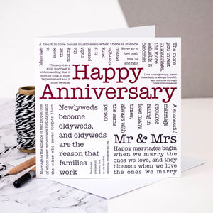 Anniversary Card; 'Happy Anniversary' - wedding, engagement & anniversary cards