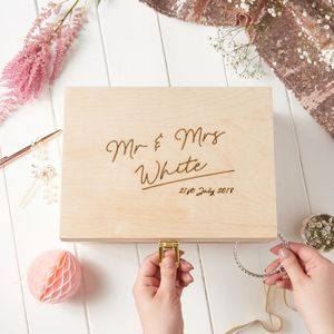 Personalised Wedding Keepsake Box - 5th anniversary: wood
