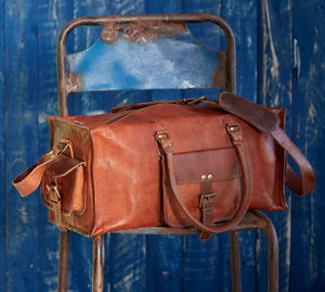 Large Brown Leather Holdall - gifts for fathers