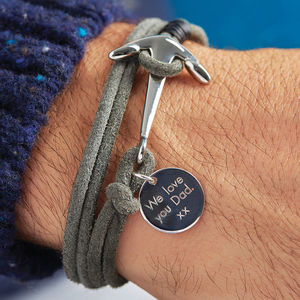 Men's Grey Cord Wrap Bracelet With Anchor Clasp Charm - for fathers