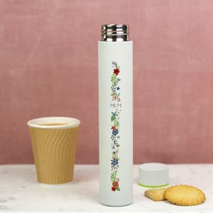 Floral Design Slimline Flask With Monogram - personalised mother's day gifts