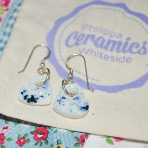 Blue Porcelain Heart Earrings - earrings
