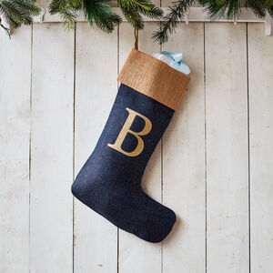 Monogrammed Navy Glitter Christmas Stocking