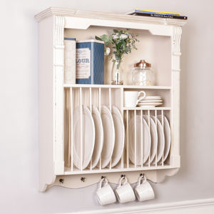 Ricotta Cream Wooden Kitchen Plate Rack