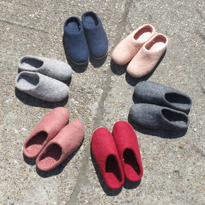 Fairtrade Handmade Eco Felt Mule Slippers W/Suede Sole