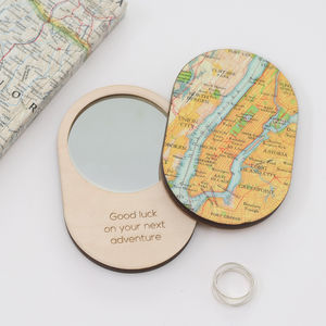 Personalised Map Location Oval Compact Pocket Mirror