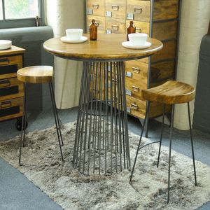 Metal Cage Round Bar Table - furniture