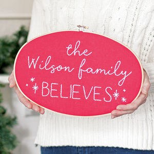 We Believe Personalised Family Hoop Sign - christmas decorations