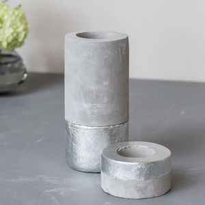 Concrete Dipped Silver T Light Holder
