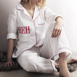 Personalised Women's White And Pink Cotton Pyjama's - keeping cosy