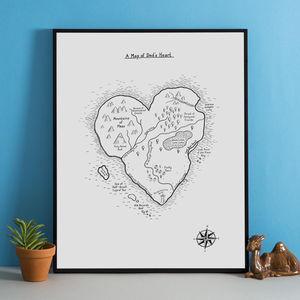 Heart Map Personalised Hand Drawn Print - for young men