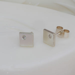 Square Off Set Diamond Earrings - earrings