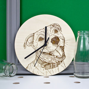 Staffordshire Bull Terrier Portrait Wall Clock - bedroom