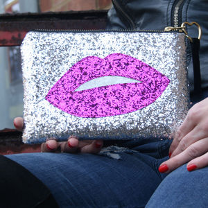 Glitter Lips Clutch Bag Diamond - bags
