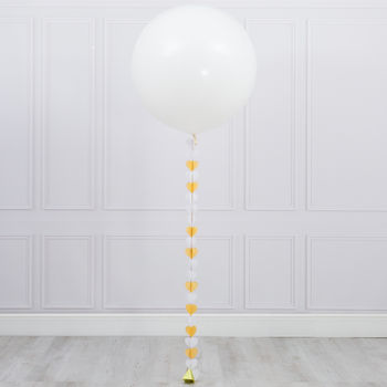 White And Gold Heart Tail Giant Balloon