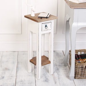Antique White Wooden Bedside Table - side tables