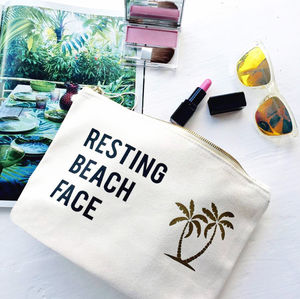 Resting Beach Face Slogan Make Up Bag - winter sale
