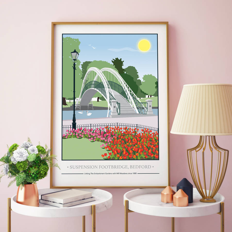 The Suspension Bridge, Bedford Embankment Print