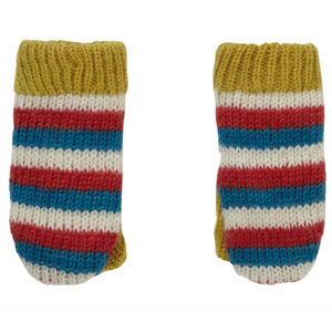 Stripey Knit Kids Mittens