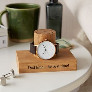 Personalised Gent's Single Watch Stand - 5th anniversary: wood