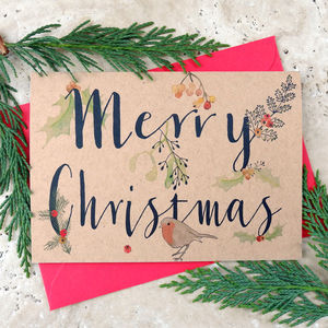 Merry Christmas Robin And Holly Design Card