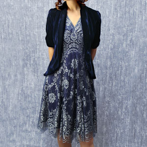 Midnight Blue Silk Velvet Jacket - women's fashion