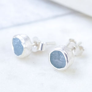 Genuine Aquamarine Silver Studs Rough Cut