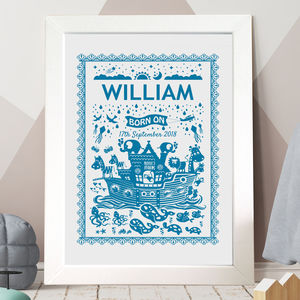 Personalised baby gifts gifts for new babies notonthehighstreet personalised christening noahs ark print negle Gallery